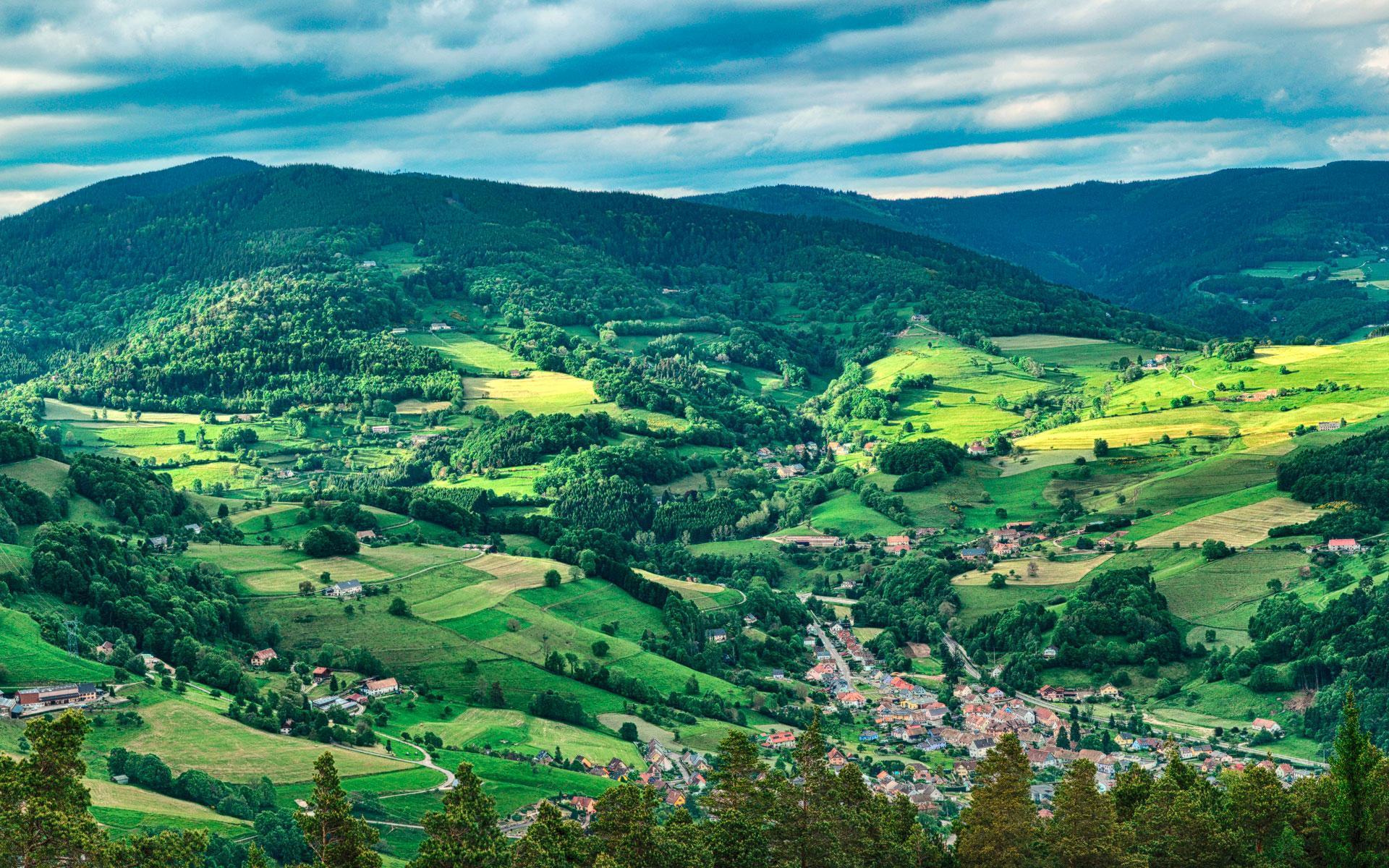 Photographie panoramique de la vallée verdoyante de Munster, au coeur des Vosges.